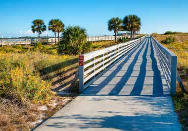 Walking bridge at Panama City Beach State Park in Florida.
