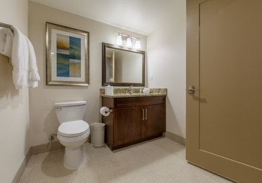 Bathroom with toilet and sink with mirror in a three-bedroom villa at Scottsdale Resort
