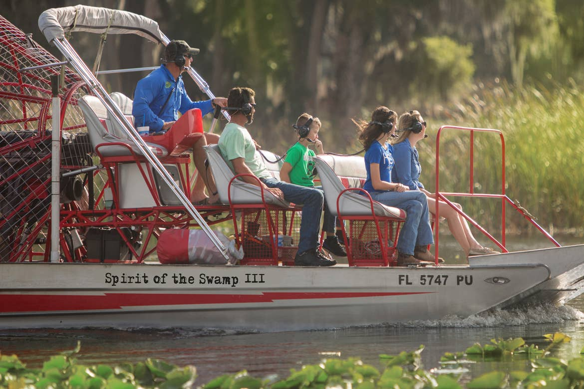 An airboat tour guide speaks with the guests on board. Photo courtesy of Spirit of the Swamp
