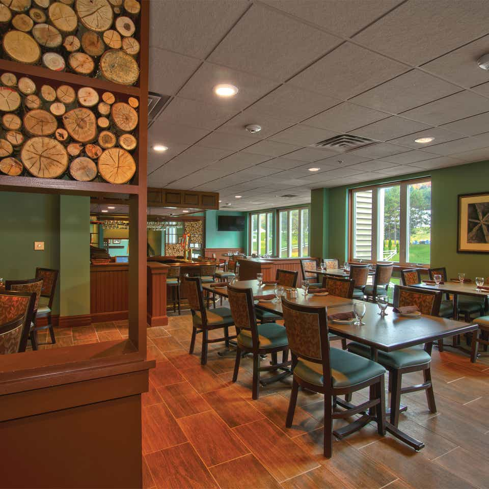 Indoor seating at The Maple Kitchen at Mount Ascutney Resort in Brownsville, Vermont.