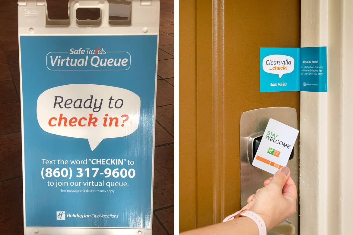 """Left: A standing sign in the lobby of our Cape Canaveral Beach resort that reads, 'Safe Travels Virtual Queue. Ready to check in? Text the word """"CHECKIN"""" to (860)317-9600 to join our virtual queue.' Right: A woman's hand holds a keycard to the villa door sensor under a door seal that reads, 'Clean villa...check! safe Travels, Welcome Home! Your villa has been cleaned, sanitized, and checked for your safety. Enjoy your stay.'"""