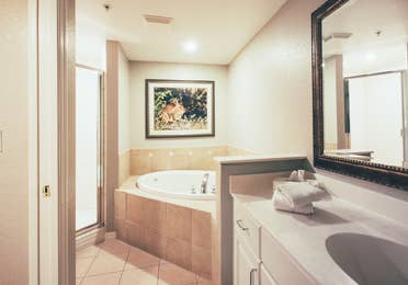 Bathroom with soaking tub in a villa in River Island at Orange Lake Resort near Orlando, Florida