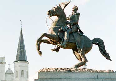 Jackson Square statue in French Quarter near New Orleans Resort in Louisiana.