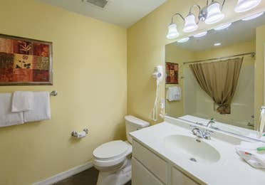 Bathroom in a two-bedroom presidential villa at the Hill Country Resort in Canyon Lake, Texas.