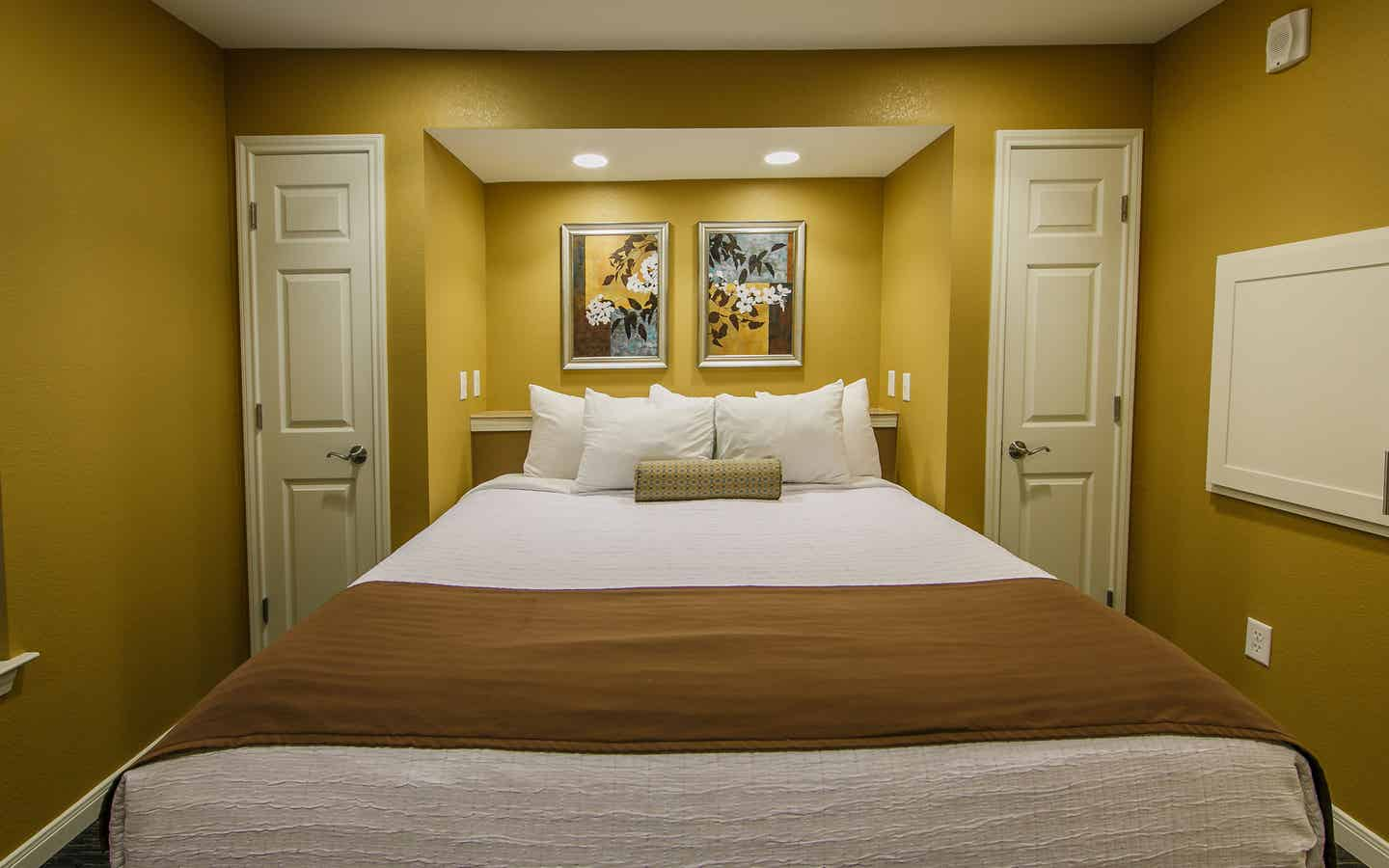 Bedroom in a two-bedroom ambassador villa at the Hill Country Resort in Canyon Lake, Texas.