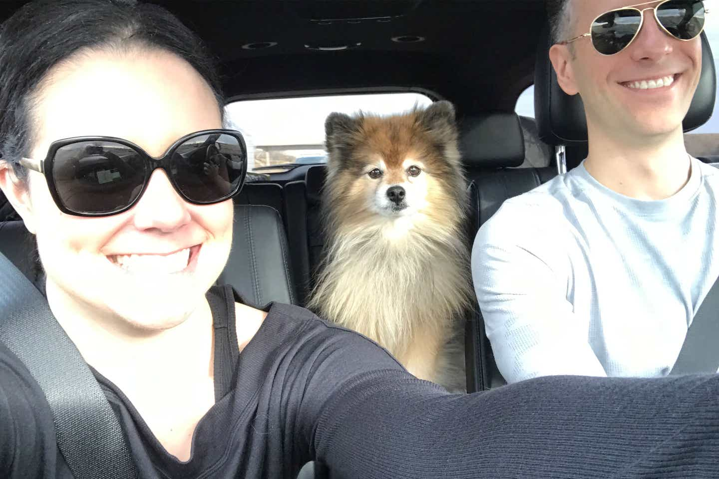 Authors, Lauren Layne and Anthony LeDonne, sit in their vehicle with Bailey the Pomeranian as they venture on their road trip.