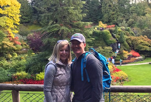 Enjoying the gardens with my husband on vacation in Canada