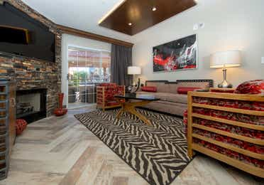 Living room in a two-bedroom Signature Villa at Desert Club Resort in Las Vegas