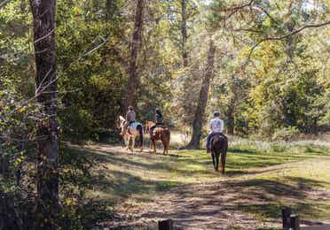 Three adults riding horses at Piney Shores Resort in Conroe, Texas