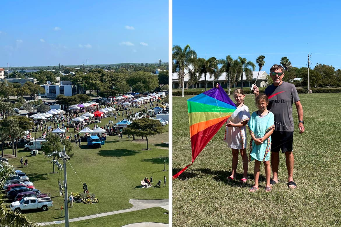 Left: Several pop-up tents placed for a Farmer's Market under a blue sky. Right: Two caucasian girls hold a kite next to a caucasian male in a green open field.