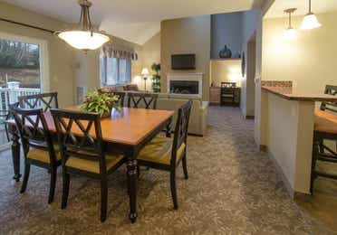 Dining room in a three-bedroom villa at Mount Ascutney Resort in Brownsville, VT