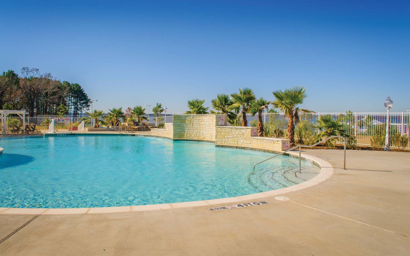 Pool surrounded by palm trees at Villages Resort in Flint, Texas.