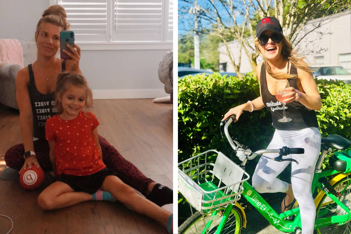Left: Co-author, Jessica (left), wears a black tank while posing with her daughter (right) on the floor of their house. Right: Co-author, Jessica, wears a black tank while posing with a drink on a green bicycle.