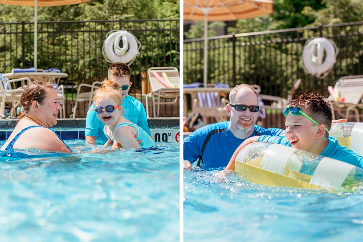 Left:  A caucasian woman in a blue swimsuit (left) holds a young girl (middle) in a blue swimsuit and goggles near a tween boy (back) in a blue swim shirt and goggles stands near the edge of the pool. Right: A caucasian man (left) in sunglasses and a blue swim shirt near a caucasian tween boy (front) in goggles and an inner tube.