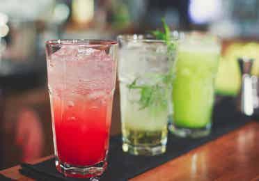 Alcoholic beverages at Evolve Nightclub at Lake Geneva Resort in Wisconsin.