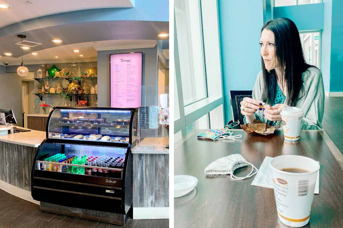 Left: A little bistro countertop with bottled beverages and pastry offerings. Right: Featured Contributor, Amanda Knall's friend enjoys a muffin.