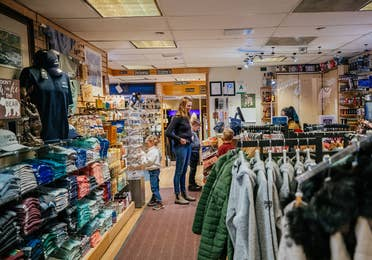 Family shopping at marketplace at Tahoe Ridge Resort in Stateline, Nevada.