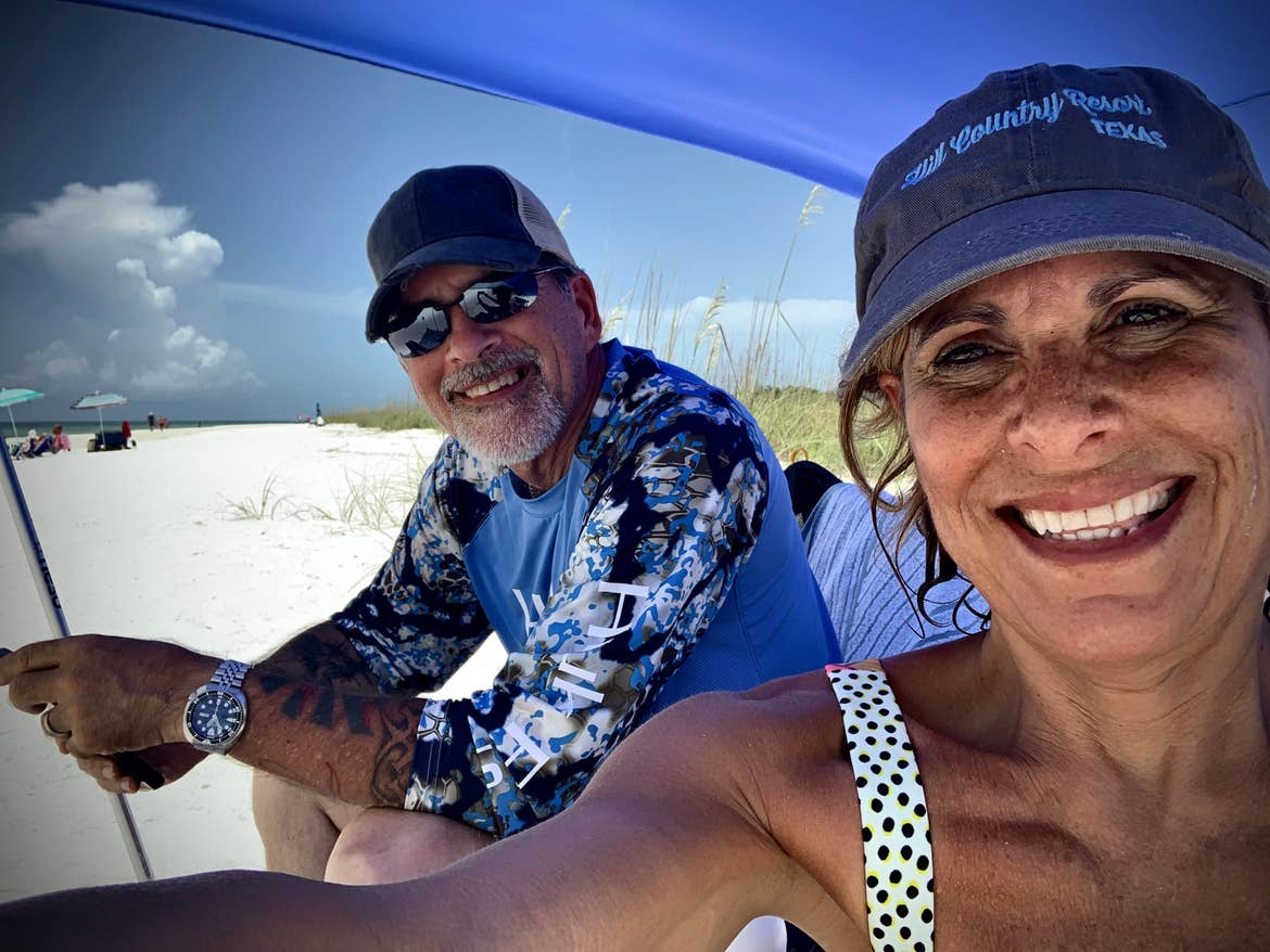 Denise and CJ taking a beach selfie at Tigertail Beach in Marco Island.