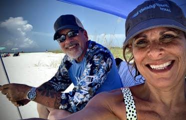 Denise Godreau and her husband CJ taking a selfie on Tigertail Beach in Marco Island, Florida.