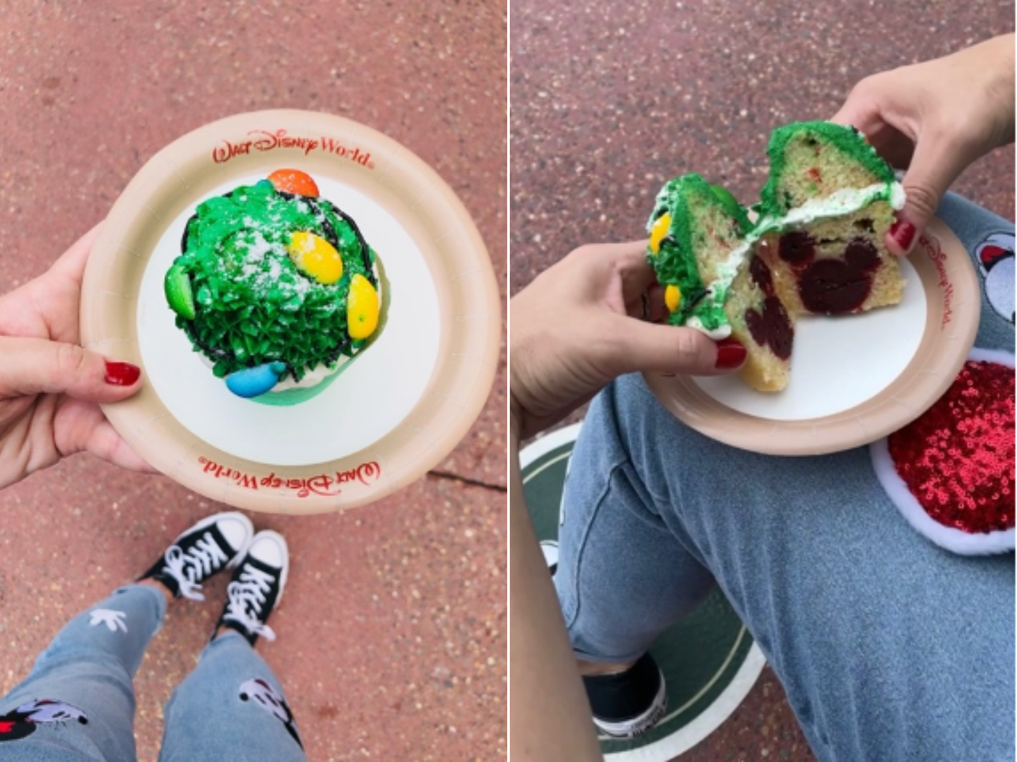Left: The Twice Upon a Cupcake from Main Street Bakery at Magic Kingdom Park. Right: The inside of the cupcake featuring a 'hidden Mickey' made from chocolate icing at Walt Disney World® Resort.