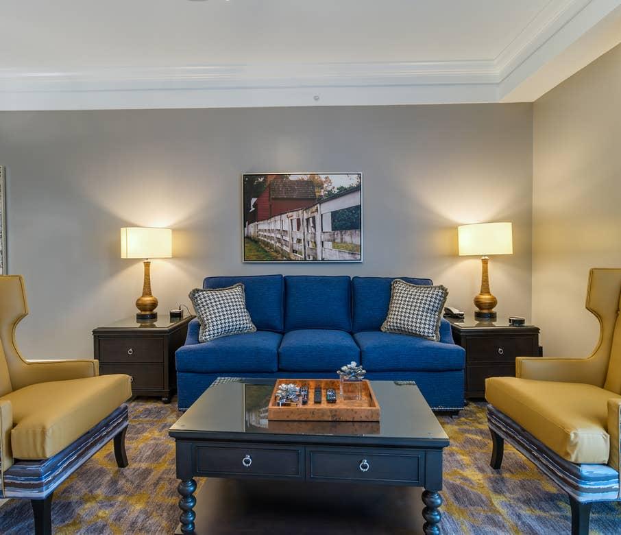 Livingroom in a Signature Collection villa at Williamsburg Resort