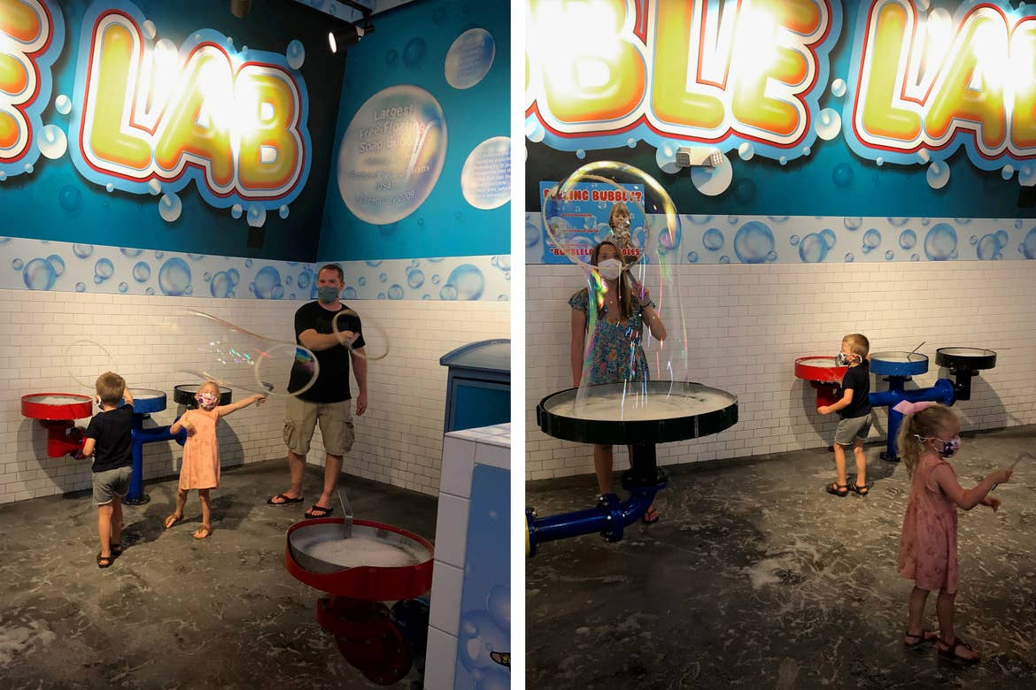 Left: Brianna's husband (right) and children play with the Bubble Lab equipment. Right: Brianna (left) joins in on the fun at the Bubble Lab.
