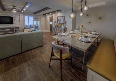 The dining area in a four-bedroom Signature Collection villa at Cape Canaveral Resort