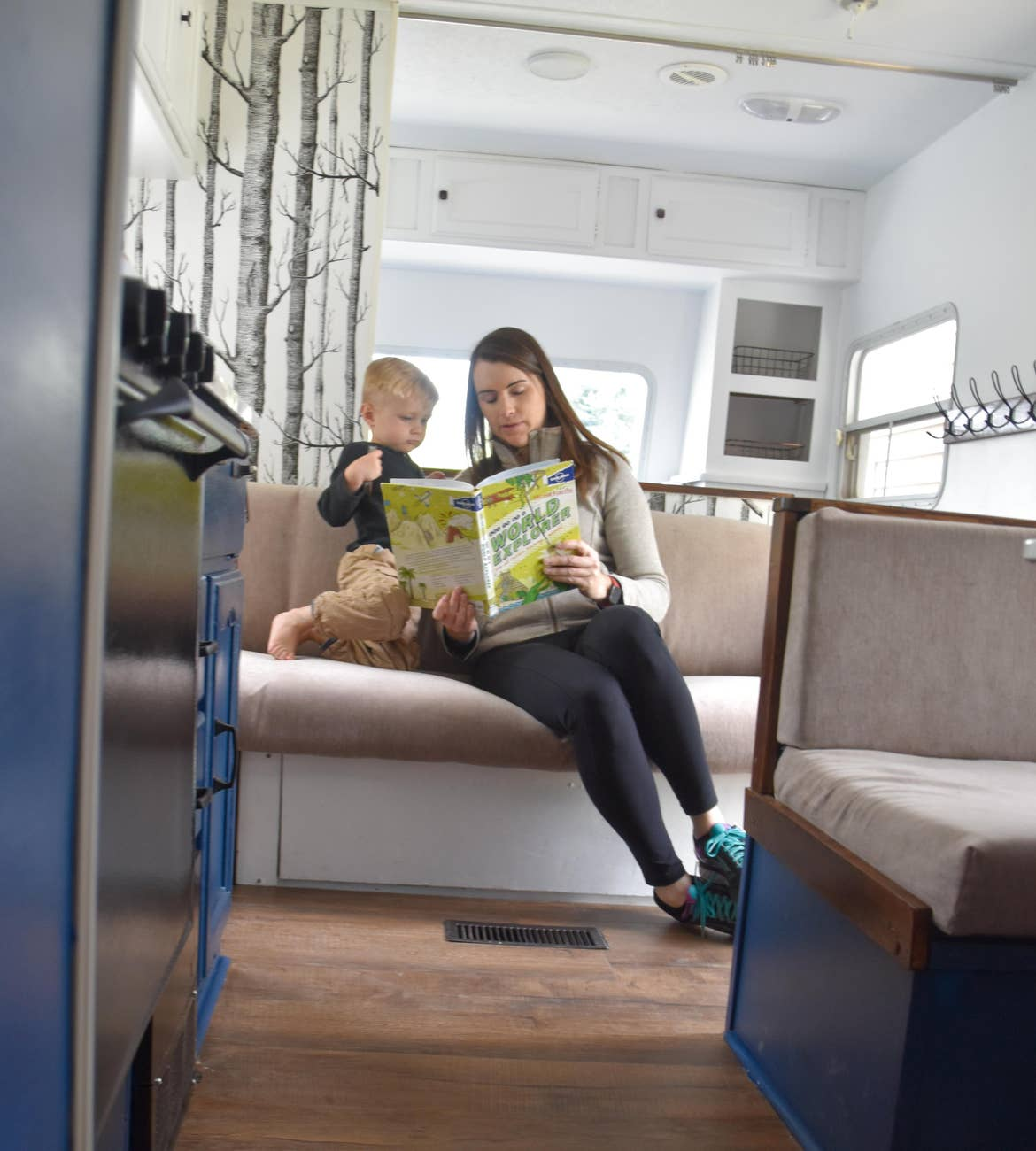 Jessica reading with her son