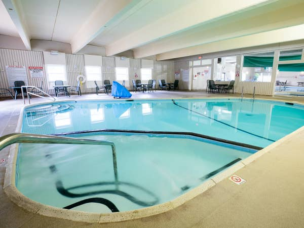 Indoor hot tub at Oak n' Spruce Resort in South Lee, Massachusetts
