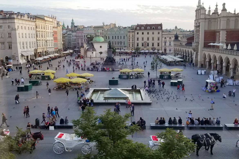 An overlook at the city square, Rynek Główny, in Krakow, Poland.