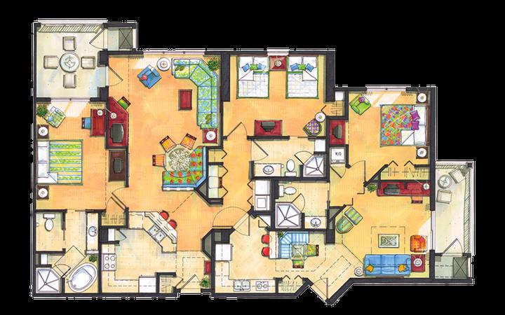 River Island three-bedroom villa floor plan