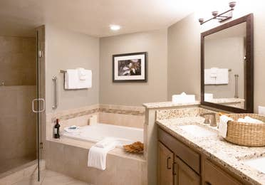 Bathroom with walk-in shower, soaking tub, and two sinks with a large mirror in a villa in East Village at Orange Lake Resort near Orlando, Florida