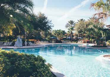 Pool with sun chairs surrounded by palm trees in River Island at Orange Lake Resort near Orlando, Florida