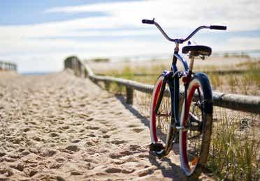 Bike sitting on the beach