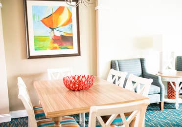 Dining room table in a two-bedroom villa at South Beach Resort in Myrtle Beach, South Carolina.