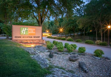 View of property sign at Ozark Mountain Resort in Kimberling City, MIssouri.