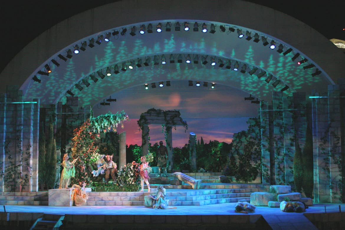 A performance of 'A Midsummer Night's Dream' on stage near downtown Orlando's Lake Eola park.