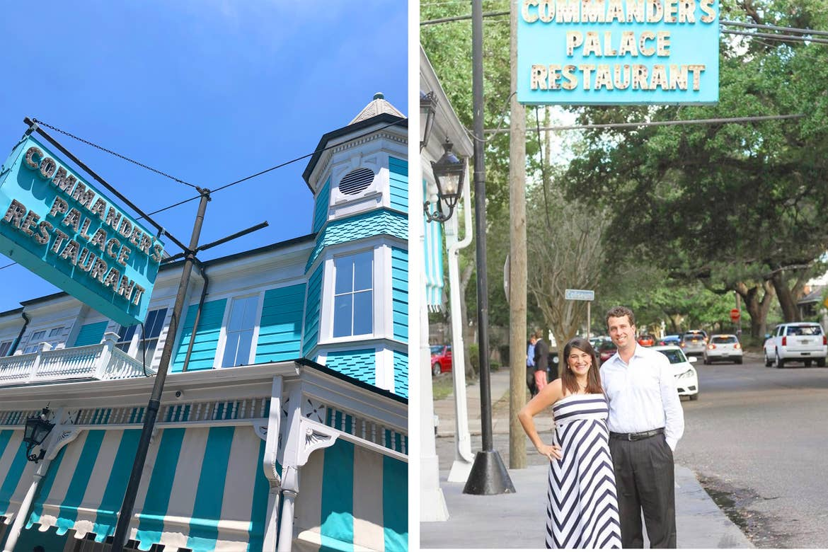 Left: The exterior of Commander's Palace and marquee. Right: A couple stands posing under the marquee.