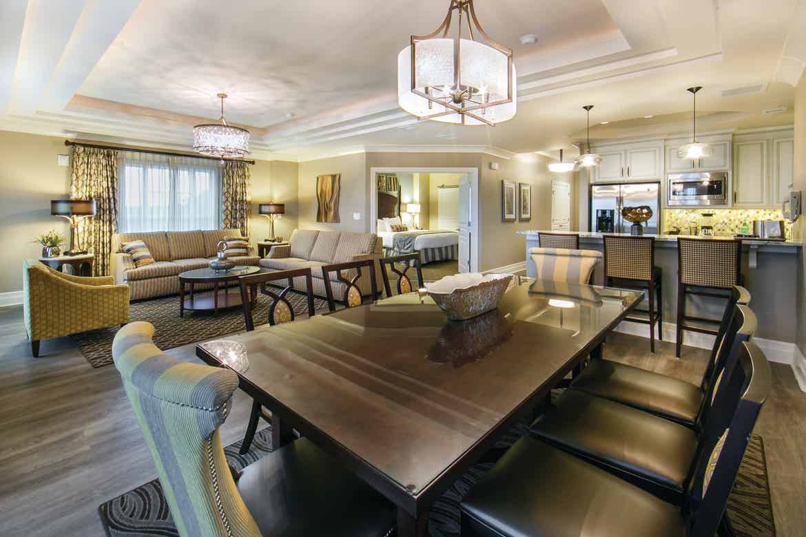 Dining room in a three-bedroom lock-off Signature Collection villa at South Beach Resort