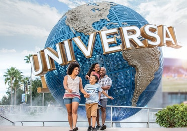 Family of four at Universal Orlando Resort near Orange Lake Resort in Orlando, Florida