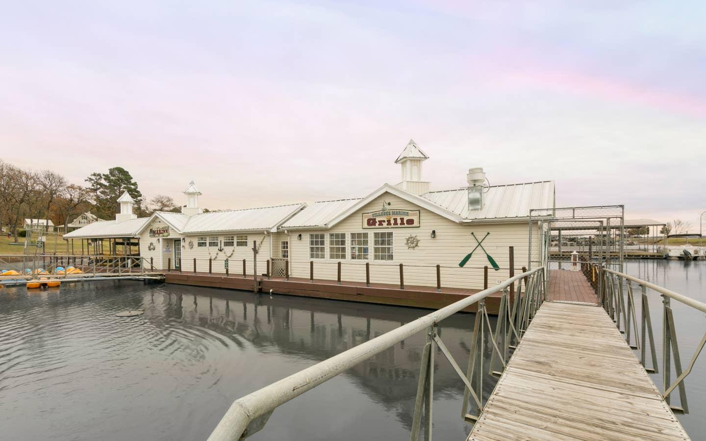 Exterior of Harbour Grille at Villages Resort in Flint, Texas.