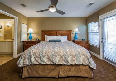 Bedroom in a two-bedroom ambassador villa at the Holiday Hills Resort in Branson Missouri.