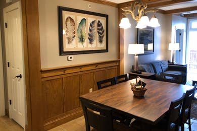 The dining room in our two-bedroom villa at Smoky Mountain Resort.