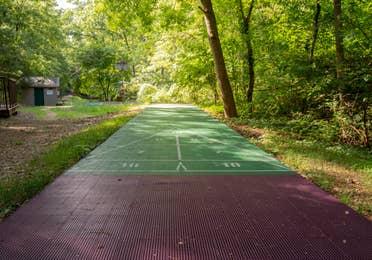 Outdoor shuffleboard court at Ozark Mountain Resort in Kimberling City, Missouri.