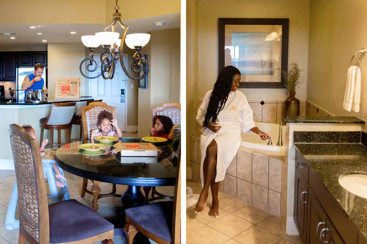 Left: Sally Butan's family in the kitchen of our Signature Collection villa. Right: Sally seated at the edge of a tub in our Signature Collection villa.