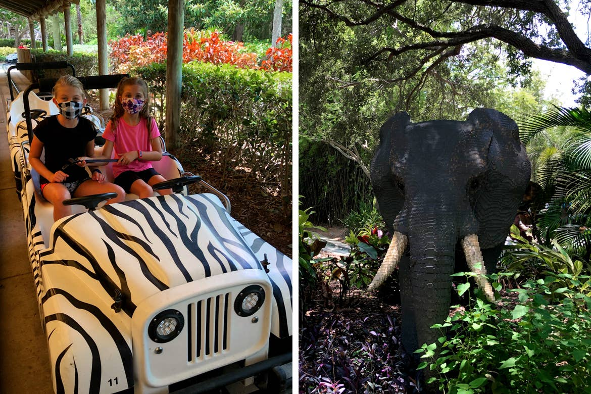 Left: Two girls sit on a miniature, zebra-print safari jeep surrounded by greenery. right: An elephant made of LEGO bricks stands amongst greenery.