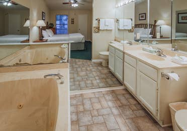 Bathroom in a cabin at Holly Lake Resort in Holly Lake Ranch, Texas.