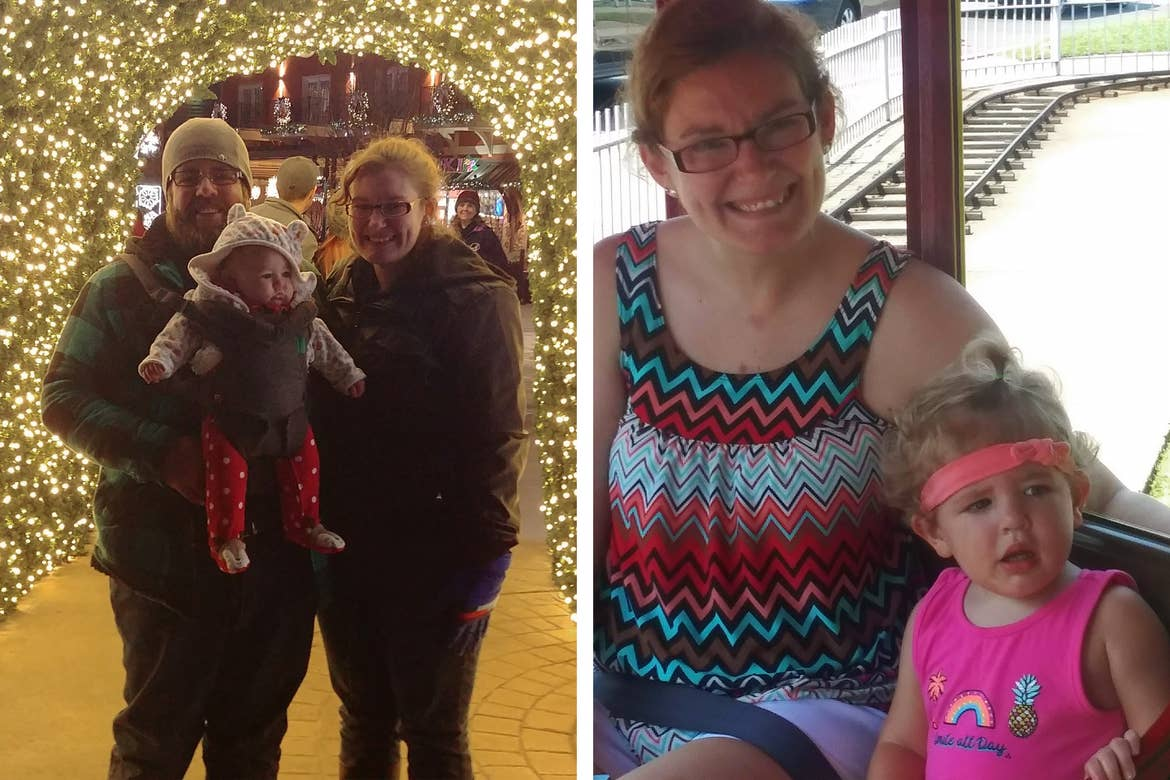 Left: A Man (left) woman (right) and an infant girl (middle) wear winter jackets underneath an arch made of Christmas string lights outdoors. Right: A woman with a multicolored blouse sits on a small train with a young girl wearing a pink blouse.
