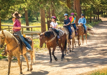 A tour guide on horseback leading four other riders