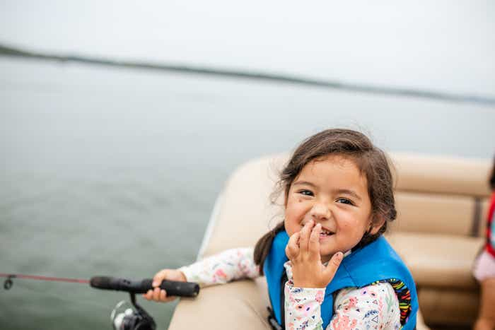 Angelica's daughter fishing